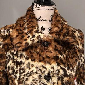 Alice+Olivia teddy bear faux fur leopard coat